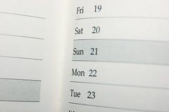 Kalendarz z datami i dniami Obrazy Royalty Free