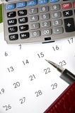 Kalendarz z kalkulatorem Fotografia Royalty Free