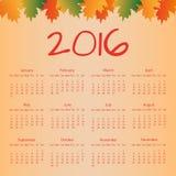 Kalendarz 2016 z kolorowymi liśćmi Fotografia Stock