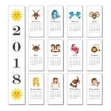 2018 kalendarz z kreskówka znakami zodiak Fotografia Stock