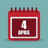 Kalendarz z 4 Kwietniem w płaskim projekcie również zwrócić corel ilustracji wektora ilustracja wektor