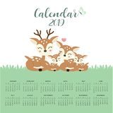 Kalendarz 2019 z ?liczn? jeleni? rodzin? ilustracji