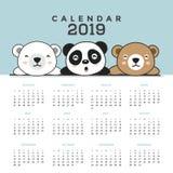 Kalendarz 2019 z ?licznymi nied?wiedziami ilustracja wektor