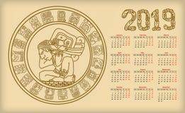 Kalendarz 2019 z majowia symbolics ilustracja wektor