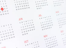 Kalendarz z miesiącami i dniami Obrazy Royalty Free