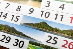 Kalendarz z pięknym krajobrazem Zdjęcia Stock