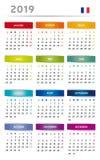 2019 kalendarz z pudełkami w tęczy Barwi 4 trymestru Francuski język z flaga - 3 kolumny - ilustracja wektor