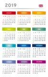 2019 kalendarz z pudełkami w tęczy Barwi 4 trymestru język angielski z UK flaga - 3 kolumny - ilustracja wektor