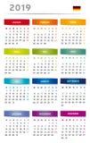 2019 kalendarz z pudełkami w tęczy Barwi 4 trymestru Niemiecki język z flaga - 3 kolumny - royalty ilustracja
