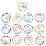 Kalendarz 2017 z round glansowanymi majcherami Obraz Royalty Free
