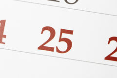 Kalendarz z 25th Grudniem Zdjęcia Stock