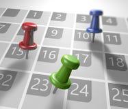Kalendarz z thumbtacks Obrazy Royalty Free