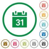 Kalendarz zarysowane płaskie ikony Obraz Stock