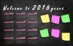 Kalendarza 2016/Angielska wersja Fotografia Stock