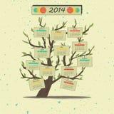 Kalendarza 2014 drzewo Zdjęcia Stock