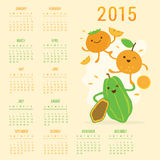 Kalendarza 2015 kreskówki Owocowego Ślicznego melonowa Persimmon Pomarańczowy wektor Zdjęcie Royalty Free