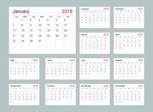 Kalendarza 2018 planisty Dzienny szablon ilustracji