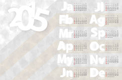 Kalendarza 2015 projekta wektorowy szablon Zdjęcie Stock