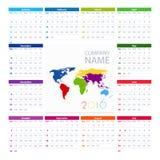 Kalendarza 2016 projekta Wektorowy szablon i Światowa mapa ilustracji