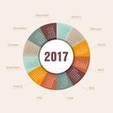 Kalendarza 2017 round kształt Tydzień Zaczyna Niedziela Obraz Stock