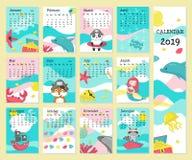 Kalendarza 2019 wektorowy szablon z piratów zwierzętami ilustracji