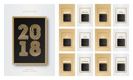 Kalendarza 2018 złota czarny styl z szyldowym szczęśliwym nowym rokiem składać się z set 12 miesiąca royalty ilustracja