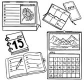 kalendarze rysujący ręki ilustraci set Fotografia Stock