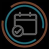 Kalendarzowa checkmark ikona, wektorowy wydarzenie symbol, dzień lub miesiąc ikona, ilustracji