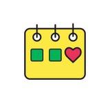Kalendarzowa ikona, ilustracja Płaski projekta styl Obrazy Stock