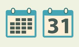 Kalendarzowa ikona ustawiająca w mieszkanie stylu pojęcia kolorowego ilustracyjny wakacje złagodzone wektora Fotografia Royalty Free