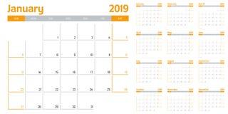 Kalendarzowa planisty szablonu wektoru 2019 ilustracja Obraz Stock
