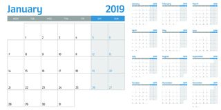 Kalendarzowa planisty szablonu wektoru 2019 ilustracja Fotografia Stock