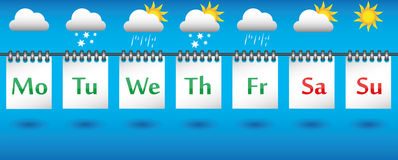 Kalendarzowa prognoza pogody dla tygodnia, ikon i odznak, Obraz Stock
