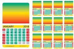 Kalendarzowa siatka Jamajka Zdjęcie Stock