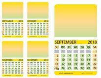 Kalendarzowa siatka septyczny ośmiornica nowenna grudzień ilustracja wektor