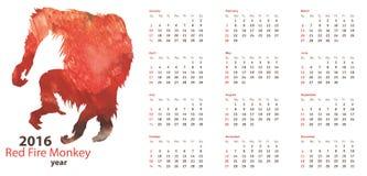 Kalendarzowa siatka 2016 z Czerwonego ogienia małpy akwareli kształtem Fotografia Royalty Free