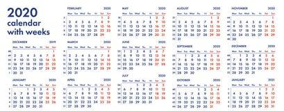 2020 kalendarzowa siatka z tygodniami ilustracyjnymi Obraz Royalty Free
