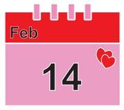 Kalendarzowa strona dla Luty 14th dla walentynki lub walentynek dnia Fotografia Stock
