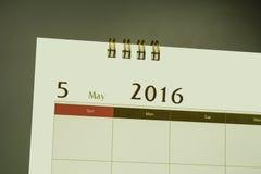 Kalendarzowa strona miesiąc 2016 Zdjęcia Stock
