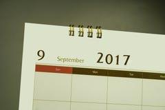 Kalendarzowa strona miesiąc 2017 Fotografia Royalty Free