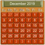 Kalendarzowa strona, 2019 rok, wektor royalty ilustracja