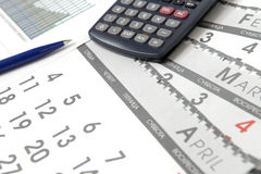kalendarzowe kalkulator grafika Obrazy Stock