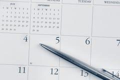 kalendarzowej daty Lipiec pióro widoczny Zdjęcia Stock