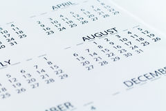 Kalendarzowej daty planista Zdjęcie Royalty Free