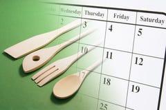 kalendarzowi kucharstwa strony naczynia Zdjęcia Royalty Free