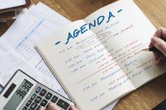 Kalendarzowy agendy wydarzenia spotkania przypomnienia rozkładu grafiki pojęcie Obrazy Royalty Free