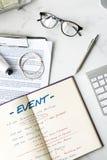 Kalendarzowy agendy wydarzenia spotkania przypomnienia rozkładu grafiki pojęcie Obraz Stock