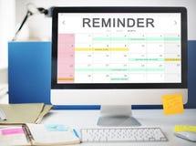 Kalendarzowy agendy wydarzenia spotkania przypomnienia rozkładu grafiki pojęcie Obraz Royalty Free