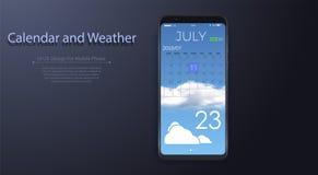 Kalendarzowy i Pogodowy App Z Robić Obrazy Royalty Free