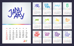 2017 Kalendarzowy - ilustracyjny Wektorowy szablon kolor Obraz Stock